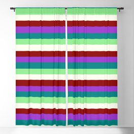 Eyecatching Dark Orchid, Teal, Light Green, Ivory, and Dark Red Colored Lines Pattern Blackout Curtain