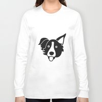 border collie Long Sleeve T-shirts featuring Border Collie by anabelledubois