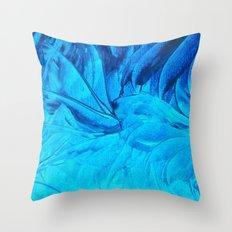 PETAL PINWHEELS, Revisited -  Indigo Royal Blue Turquoise Floral Pattern Swirls Ocean Water Flowers Throw Pillow