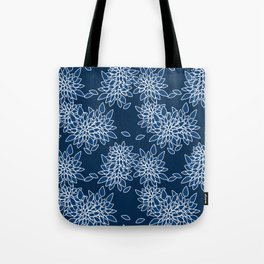 Blue abstract flowers . Tote Bag