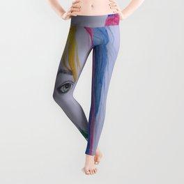 The girl with rainbow hair Leggings
