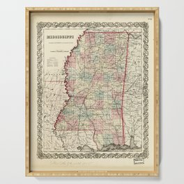 Map of Mississippi (1855) Serving Tray
