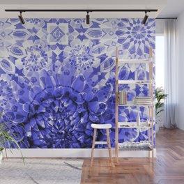 Morocco Oriental Flower Mosaic Gerber blue Wall Mural