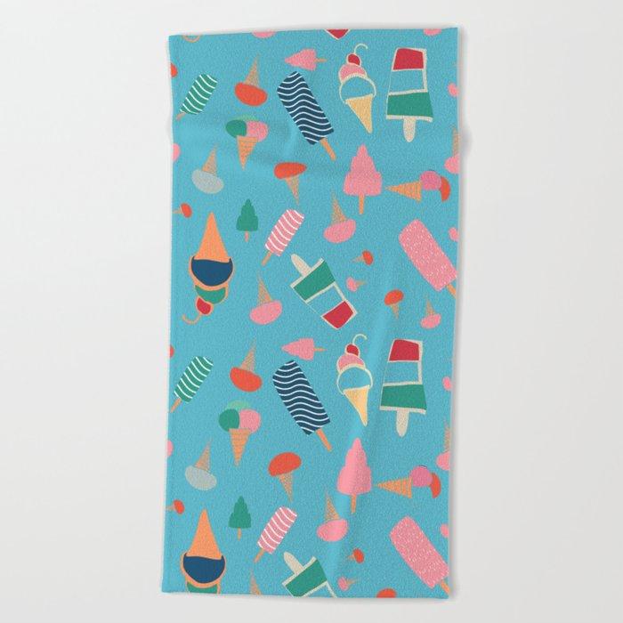 Ice Cream Blue Beach Towel