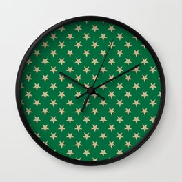 Tan Brown on Cadmium Green Stars Wall Clock