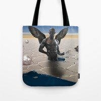 angel Tote Bags featuring angel  by mark ashkenazi