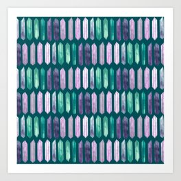 Love More Crystals Collection in Teal; Amythest, Rose Quartz, Calcite, Fluorite Art Print