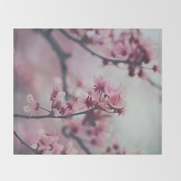 Pink Cherry Blossom On Branch Throw Blanket