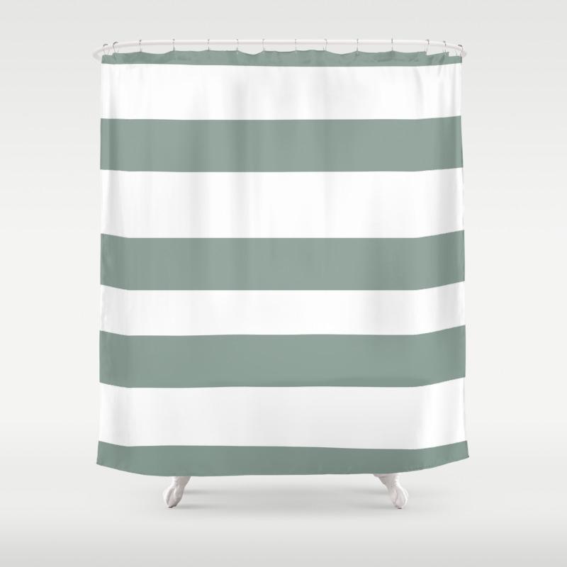Valspar America Sea Green Green Water Zinc Blue Hand Drawn Fat Horizontal Stripes On White Shower Curtain