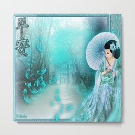 Geisha In Teal Metal Print