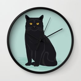 Black Cat cute cat breed customized pet portrait mint background cat lady gifts gender neutral kitty Wall Clock
