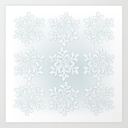 Crocheted Snowflake Ornaments on teal mist Art Print
