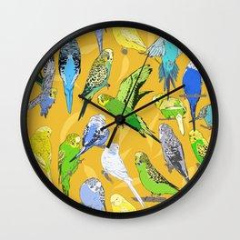 Budgies - Yellow Wall Clock