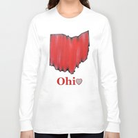 ohio state Long Sleeve T-shirts featuring Ohio State Love by Fischer Fine Arts