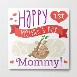 Happy Mothers Day Message Sloth Mom Grandma Gift Metal Print