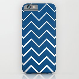 Classic Blue and White Zigzag Chevron Pattern iPhone Case