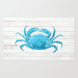 Nautical Blue Crab Driftwood Dock Rug