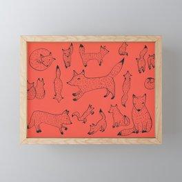 Orange foxes Framed Mini Art Print