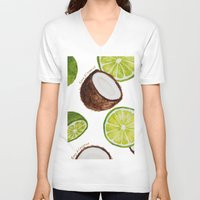 coconut wishes V-neck T-shirts featuring Lime & Coconut  by Nora Buschman