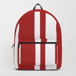 Mixed Vertical Stripes - White and Firebrick Red Backpack
