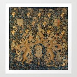 Vintage Golden Deer and Royal Crest Design (1501) Art Print