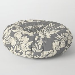 Club Surfing Longboard Logo and Hibiscus Hawaiian Print  Floor Pillow