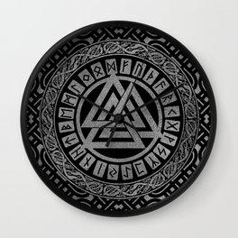 Silver Metallic Valknut Symbol on Celtic Pattern Wall Clock
