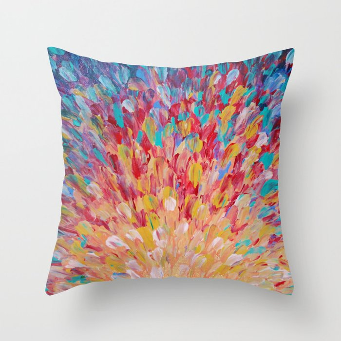 SPLASH - WOW Dash of Cheerful Color, Bold Water Waves Theme, Nature Lovers Modern Abstract Decor Throw Pillow