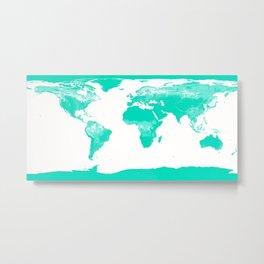 World Map Mint Turquoise Metal Print