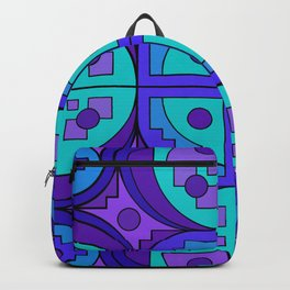 Blue-Violet Gears Pseudo Quilt Backpack