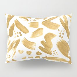 Modern abstract gold strokes paint Pillow Sham