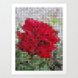 Red Rose Edges Mosaic Art Print