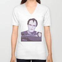 tarantino V-neck T-shirts featuring Quentin Tarantino by Fanny Öqvist Westerberg