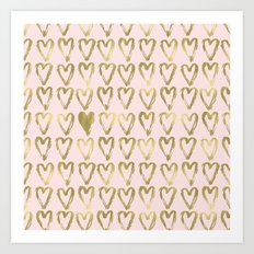 Pink Peach and Gold Hearts Art Print