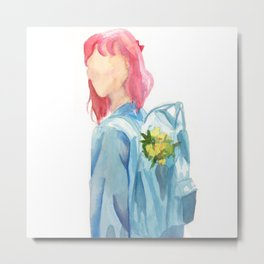 Girl with Backpack Metal Print