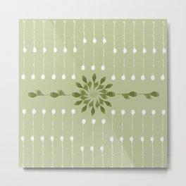 green leaf watercolor pattern Metal Print