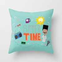 old school Throw Pillows featuring OLD SCHOOL!  by Claudia Ramos Designs