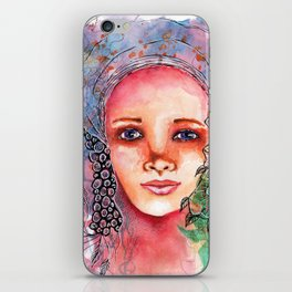 Flower Beauty   Whimsical face with flowers. Floral. Watercolor iPhone Skin