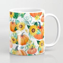 Pumpkins and Sunflowers with moths, watercolor botanical Coffee Mug