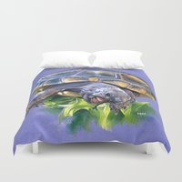 turtle Duvet Covers featuring Turtle by Melania Merlo
