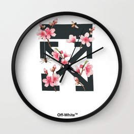 Off-White Cherry Blossom Wall Clock