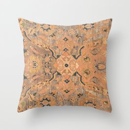 Persian Motif IV // 17th Century Ornate Rose Gold Silver Royal Blue Yellow Flowery Accent Rug Patter Throw Pillow