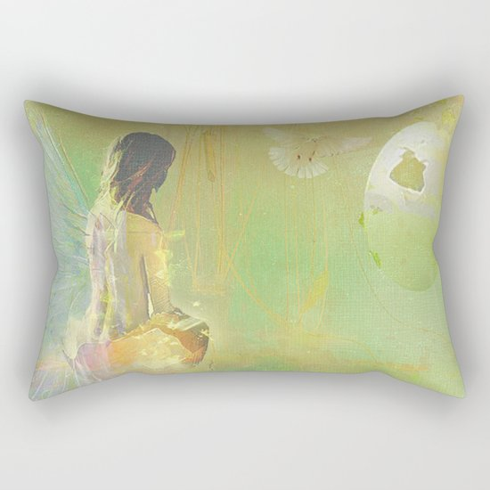 The angel and the dove of the peace Rectangular Pillow