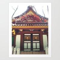 kobe Art Prints featuring Ikuta Shrine in Kobe by Michelle Brand