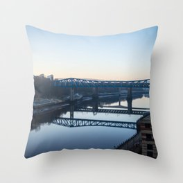 Reflections in the Tyne, Newcastle UK Throw Pillow