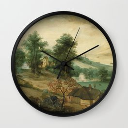 Jacob Grimmer - Landscape With Cottages Wall Clock