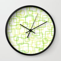 jojo Wall Clocks featuring #52. JOJO - Squares by sylvieceres