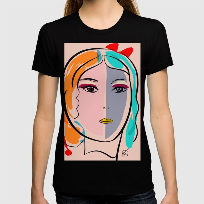 Pastel Pop Art Girl Portrait Minimalist T-shirt