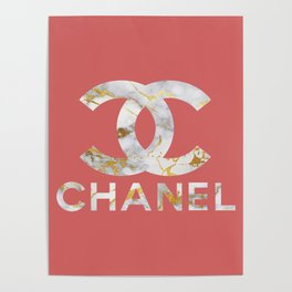 Luxury Designer Inspired Marble Typography in Pink & Gold Poster