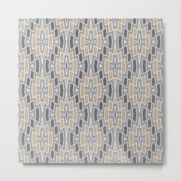 Tribal Diamond Pattern in Gray and Tan Metal Print